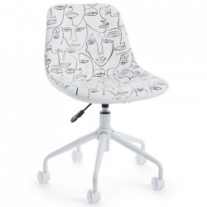 Scaun birou ajustabil rotativ alb din piele si otel Clio Bizzotto