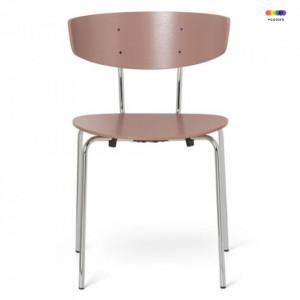 Scaun dining argintiu/roz din lemn si metal Herman Rose Chrome Ferm Living