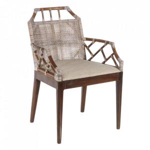 Scaun dining gri/maro din ratan si lemn de mahon Bulliac Denzzo