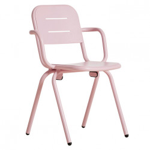 Scaun dining pentru exterior roz din aluminiu Ray Arm Woud