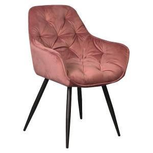 Scaun dining roz din catifea si metal Cherry Signal Meble