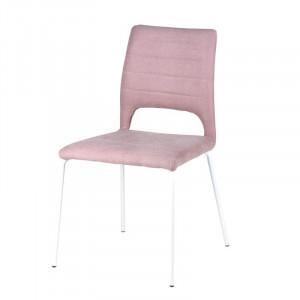 Scaun dining roz textil si metal Nessa Rose Somcasa