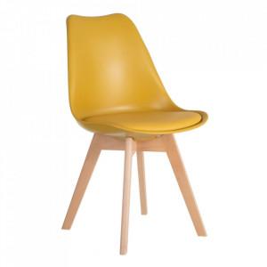 Scaun galben din plastic cu picioare din lemn Shell Ixia