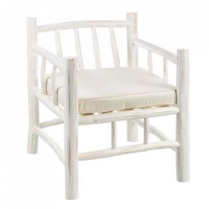 Scaun lounge alb din lemn de tec Zapallo Ixia