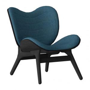 Scaun lounge albastru petrol/negru din poliester si lemn A Conversation Piece Umage