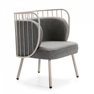 Scaun lounge crem/gri inchis din metal si textil Nabi Teulat