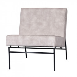 Scaun lounge crem/negru din poliester si metal Freeland LifeStyle Home Collection