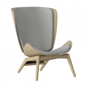 Scaun lounge gri argintiu/maro stejar din poliester si lemn The Reader Umage