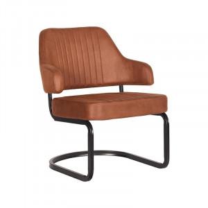 Scaun lounge maro coniac/negru din microfibre si metal Otta LABEL51