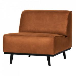 Scaun lounge maro coniac/negru din poliester si lemn Statement Be Pure Home