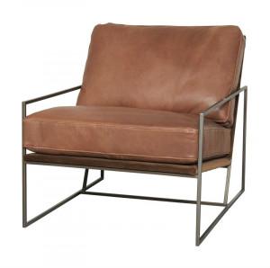 Scaun lounge maro din piele si fier Houston LifeStyle Home Collection