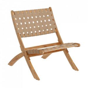 Scaun lounge pliabil bej din textil si lemn de salcam Chabeli Kave Home