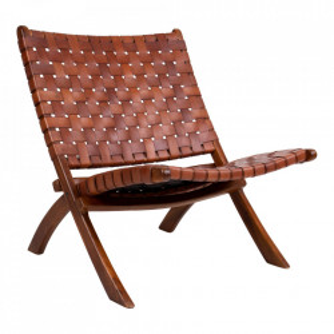 Scaun lounge pliabil maro din piele si lemn de tec Perugia House Nordic