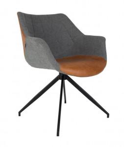 Scaun lounge rotativ negru/gri din poliuretan si otel Doulton Vintage Grey Zuiver