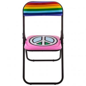 Scaun pliabil multicolor din metal si PVC Peace Seletti