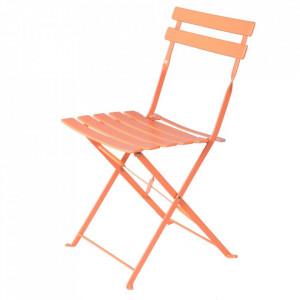 Scaun pliabil rosu corai din otel pentru exterior Sira Chair Coral Unimasa