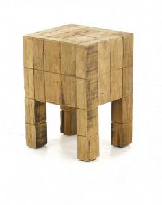 Scaunel maro din lemn reciclat Square Zago