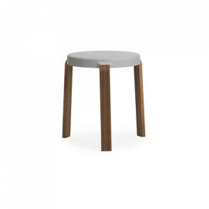 Scaunel rotund gri/maro din lemn 35 cm Tap Normann Copenhagen