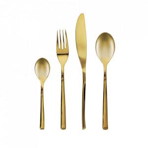 Set 16 tacamuri aurii din inox Lite Square Kave Home