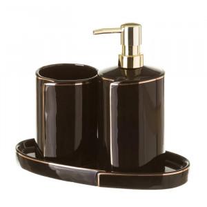 Set 2 accesorii baie si suport din ceramica Hellen Black Unimasa