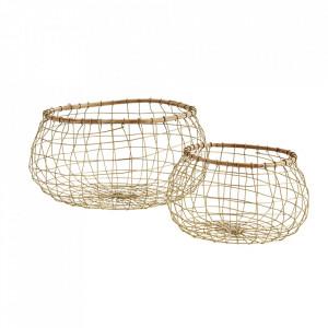Set 2 cosuri aurii din fier si lemn de bambus Sophus Madam Stoltz