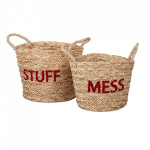 Set 2 cosuri maro/rosii din rachita Messy Stuff Kids Depot