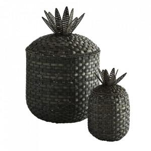 Set 2 cosuri negre din ratan si placaj Pineapple Madam Stoltz
