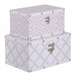 Set 2 cutii albe/bej din MDF si PVC Mirad Ixia