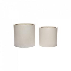 Set 2 ghivece albe din piatra Fiber Stone Pot Hubsch