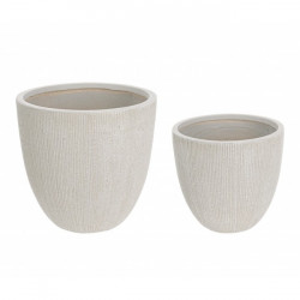 Set 2 ghivece bej din fibra de sticla Low Vase Bizzotto