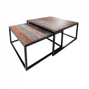 Set 2 masute maro/gri din lemn de palisandru indian pentru cafea Elements Invicta Interior