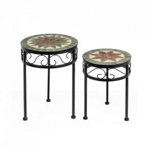 Set 2 masute multicolore din ceramica si metal pentru exterior Vintage Ceramic II Unimasa