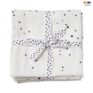 Set 2 museline albe din bumbac pentru copii 120x120 cm Dreamy Done by Deer