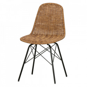 Set 2 scaune dining negre/maro din otel si ratan Spun Be Pure Home