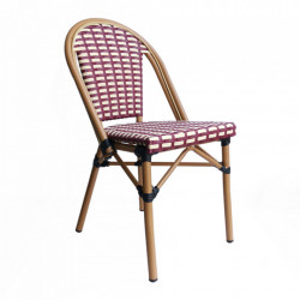 Set 2 scaune dining rosii/bej din poliratan si aluminiu Karen Sit Moebel