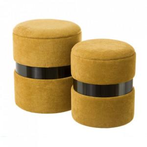 Set 2 tabureti rotunzi maro sienna din tesatura chenille si MDF Pumba Unimasa
