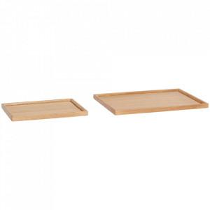 Set 2 tavi dreptunghiulare maro din lemn de stejar Mary Hubsch