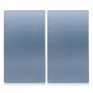 Set 2 tocatoare dreptunghiulare argintii din sticla 30x52 cm Chester Zeller