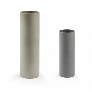 Set 2 vaze rotunde din ciment gri Marta Kave Home