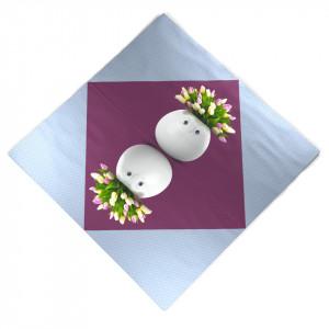 Set 20 servetele albastru/mov 33x33 cm Bouquet Gourmet Tassen