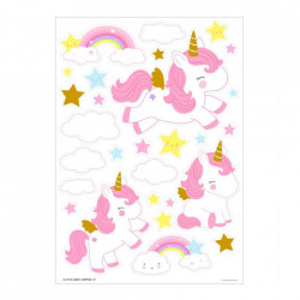 Set 28 stickere pentru perete multicolore din vinil Unicorn A Little Lovely Company