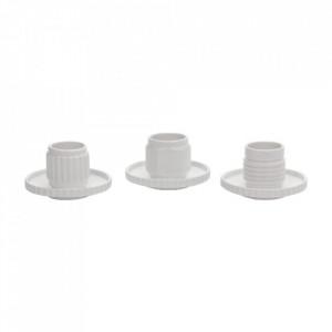 Set 3 cesti si farfurioare albe din portelan 6x6 cm Machine Collection Seletti