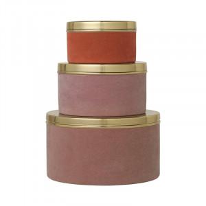 Set 3 cutii cu capac multicolore din metal si catifea Victoria Rouge Cozy Living Copenhagen