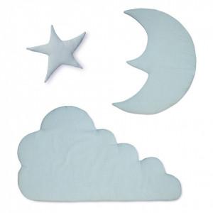 Set 3 decoratiuni albastre din bumbac organic pentru perete Moon Cloud Star Blue Mist Cam Cam