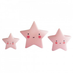 Set 3 decoratiuni roz din PVC Stars A Little Lovely Company