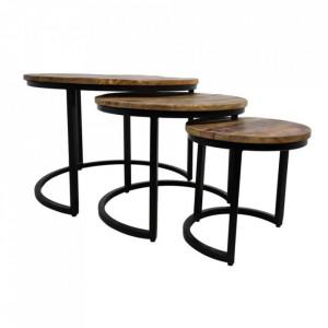 Set 3 masute de cafea maro/negre din lemn de mango si fier District HSM Collection