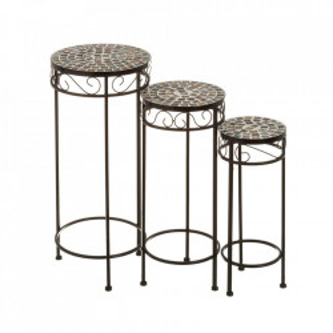 Set 3 masute multicolore din ceramica si metal pentru exterior Caprice Ceramic Trio Unimasa
