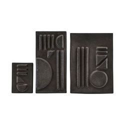 Set 3 obiecte decorative negre pentru perete Relief Stained House Doctor