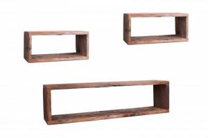 Set 3 rafturi maro din lemn Hemingway Invicta Interior