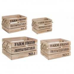 Set 4 cutii maro/negre din lemn Farm Fresh Bizzotto
